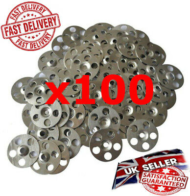 Metal Fixing Washers / Discs For Insulated Sheets / Boards (100no per pack) *UK*