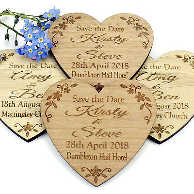 Save The Date Magnet Wood Wedding Rustic Wooden Invitation - Floral Heart Sample