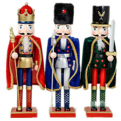 Handmade Christmas Wooden Nutcracker Home Decor Ornaments Gift Walnut Soldiers