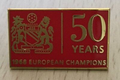 UNITED CHAMPIONS OF EUROPE 50th ANNIVERSARY ENAMEL PIN BADGE - RED