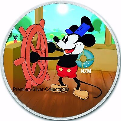 "2017 Niue Disney's ""Steamboat Willie"" 1 Ounce Pure Silver .999 Coin !!"