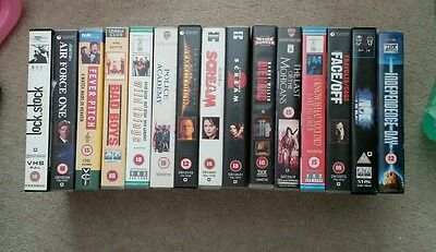 Job Lot: 7 VHS Video CLASSICS Bad Boys, Die Hard, Face Off, Wild Things, Scream
