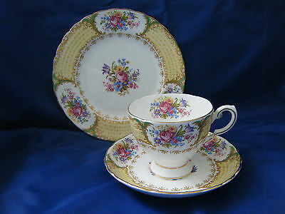 "Tuscan China Trio With Flower And Gold Scroll Pattern Titled ""albany"""