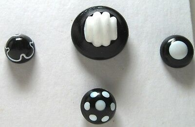 4 Antique Black Glass Buttons with White