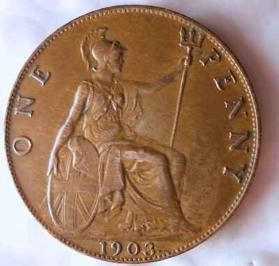 1903 GREAT BRITAIN PENNY - AU - High Grade Strong Value Coin - Lot #118