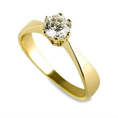 Vs Solitaire Round Authentic 0.7 Carat Diamond 18K Yellow Gold Promise Ring