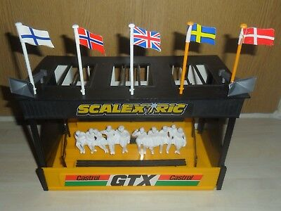Scalextric Grandstand for vintage car track with spectators flags etc, SUPERB