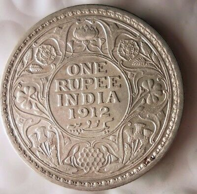 1912 BRITSH INDIA RUPEE - RARE - Excellent Silver Coin - Lot #118