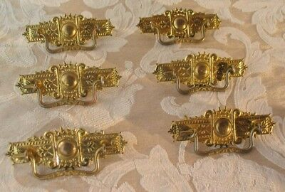 """EASTLAKE VICTORIAN DRAWER PULLS, ANTIQUE STYLE, CC 3"""" SOLID BRASS Set of 6"""