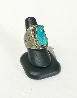 Old Navajo Silver & Carved Turquoise Man's Ring