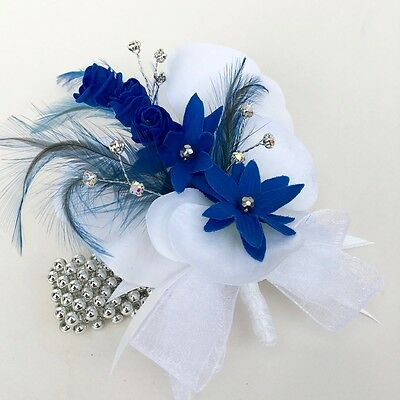 Artificial White Orchid Flower Royal Blue Feather Silver Band Wrist Corsage