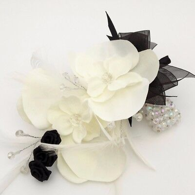 Ivory Orchid Silk Flower With Feathers Silver Crystal Prom Wrist Corsage
