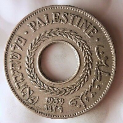 1939 PALESTINE 5 MILS - SCARCE BIG VALUE - Rare Historic Coin - Lot #118