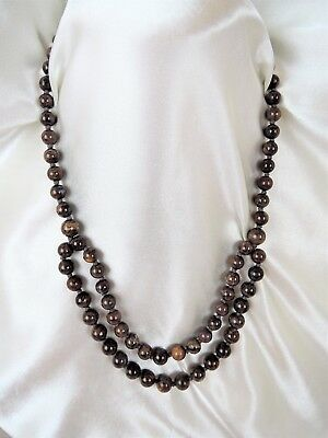 Vintage Sterling Made In China Hand Knotted Genuine Stone Double Necklace*see!!