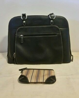 Franklin Covey Leather Laptop Bag Black Womens Carry On Travel Briefcase
