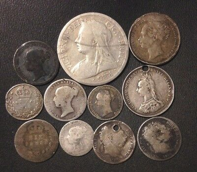 Vintage Great Britain SILVER Coin Lot - 1816-1901 - 11 Silver Coins - Lot #118