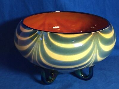 Rare Imperial art glass Free Hand Dragged Loop pattern orange/blue footed bowl