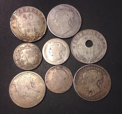 Old Canada (NEWFOUNDLAND) Silver Coin Lot - 8 Very Rare Coins - Lot #118