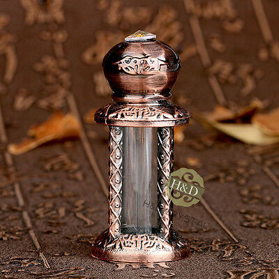 Copper Mini Vintage Empty Metal Glass Jeweled Perfume Bottle Stopper Lady Gift