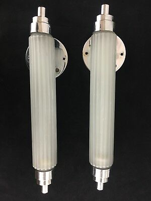 Pair of Art Deco Chrome and Frosted Glass Skyscraper Wall Sconces Circa 1930