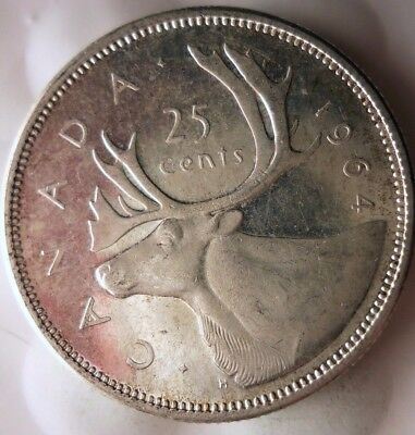 1964 CANADA 25 CENTS - Excellent Scarce Date Silver Coin - Lot #118