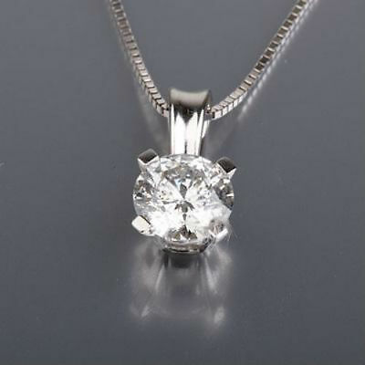 0.9 Ct Authentic Solitaire Diamond Pendant 18K White Gold Promise Necklace Nwt