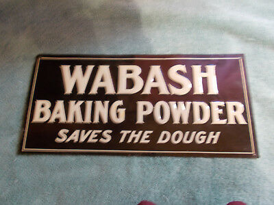"VERY SCARCE—NOS Embossed ""Wabash"" Baking Powder Tin Sign"