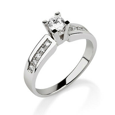 0.6 Ct Genuine Solitaire W Side Stones Diamond 18K White Gold Proposal Ring New