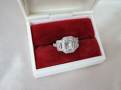 Dramatic Vintage Size 9 Mint Cz High End Cocktail Ring**lavish Set*must See!!!!!
