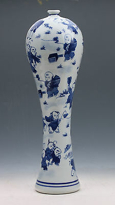 Chinese Blue And White Porcelain Hand-Painted Children Vase W Qianlong Mark G046
