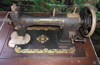 Old White Rotary Sewing Machine With Table And Attachments In Small Case Works!