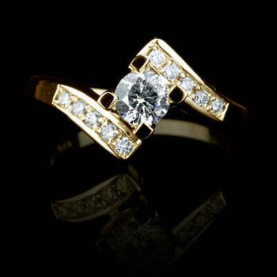 1.1 Ct Vvs Natural Round Cut W Side Stones Diamond 18K Yellow Gold Promise Ring