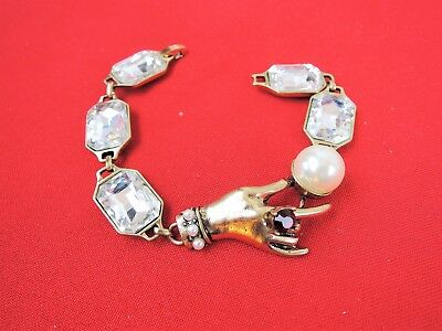 Vintage Crystal Set Lady Hand With Pearls Fabulous Link Bracelet!!