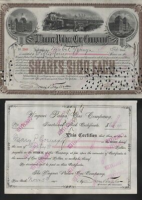 2 Stks-Wagner Palace Car Co 1892 + Scrip stock 1890