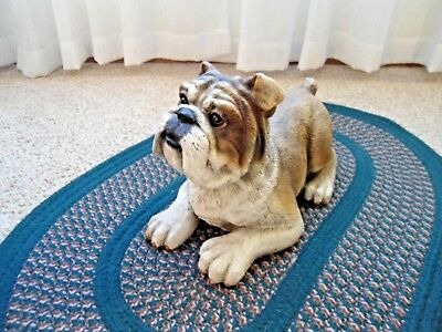 Bulldog Collectible: Vintage Statue Of A Bulldog At Rest; Great Detail & Color.