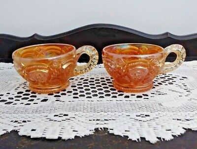 Pair of Vintage Imperial Carnival Glass Punch Cups Marigold Fashion Pattern