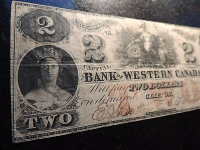 1859 Bank Of Western Of Canada $2 Two Dollars 795-10-08 Richardson