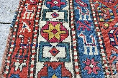 "Antique Caucasian Oriental Rug Runner Poor Condition Use For Repair 3'5"" x 14'4"""