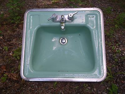 Vintage Turquoise Sea Foam Cast Iron Porcelain Bathroom Sink Chrome Trim Ring