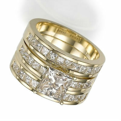 Diamond Bands Set Ring Accented 18K Yellow Gold Women 4.8 Ct Natural Si1