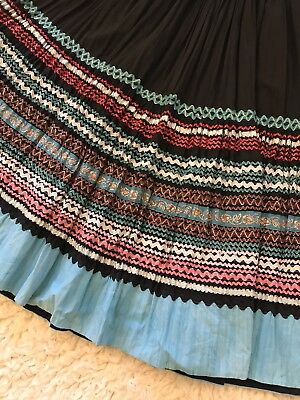 Vintage Mexican Long Full Skirt With Detailing