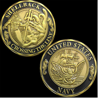 Us Navy Challenge Coin Shellback Crossing The Line Eagle Commenorative Coin