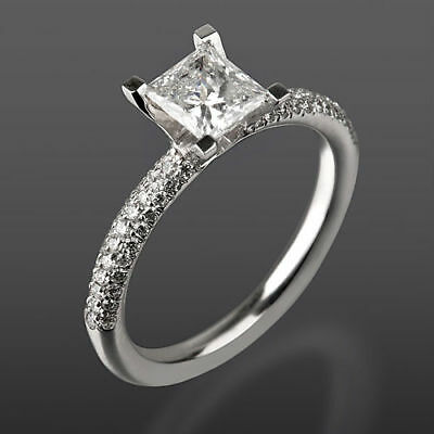 0.95 Ct Authentic Princess Cut Accented Diamond 14K White Gold Engagement Ring