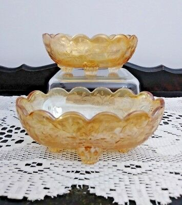 Vintage Pair of Embossed Marigold Amber Carnival Glass Oval Footed Bowls Dish