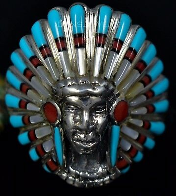 Vintage Indian Old Pawn Coral Turquoise Inlay Sterling Mens CHIEF Ring SZ 15.5