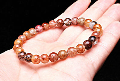 7mm Natural Copper Quartz Golden Hair Rutilated Crystal Beads Sphere Bracelet