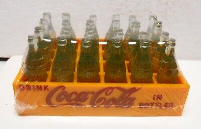 1960s-70s Mini Yellow Case of Coca-Cola-24 1 Inch Green Bottles -MINT