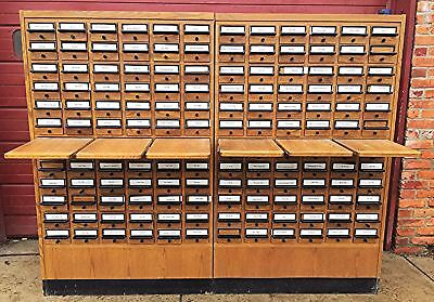 RARE VINTAGE 144 DRAWER LIBRARY CARD CABINET 65 High x 80 Wide x 17.5 Deep