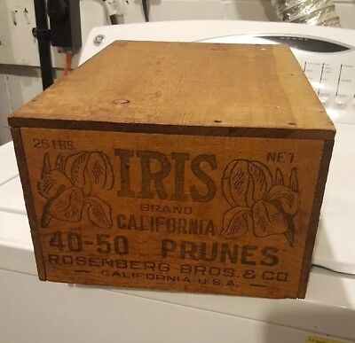 Vintage Iris Brand California prunes advertising wooden box crate A&P SCRANTON