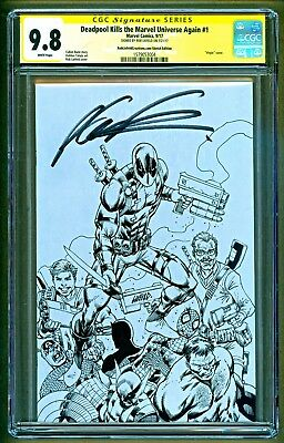 Deadpool Kills the Marvel Universe Again #1 B&W cover Signed Rob Liefeld CGC 9.8